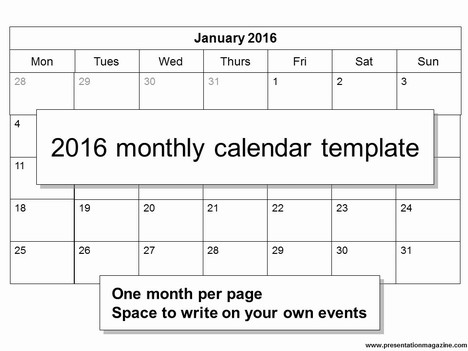 Free 2016 Monthly Calendar Template – Printable Calendars Sample