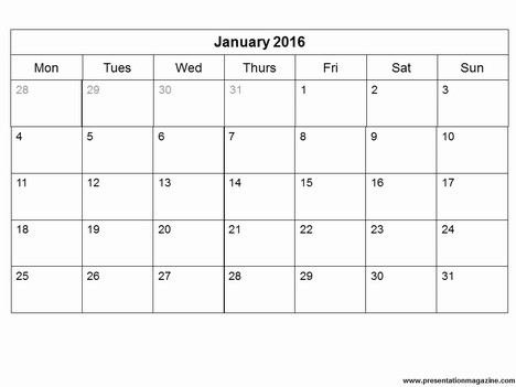 Free 2016 Monthly Calendar Template inside page