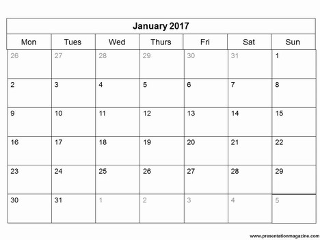 monthly calendar 2017 word - Template