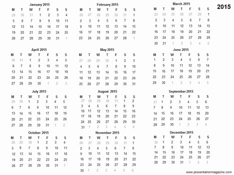 Free 2015 Printable Calendar Template inside page