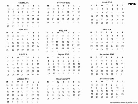 Free 2016 printable calendar template inside page