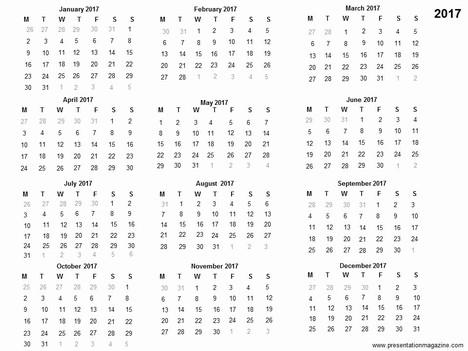 Free 2017 printable calendar template inside page