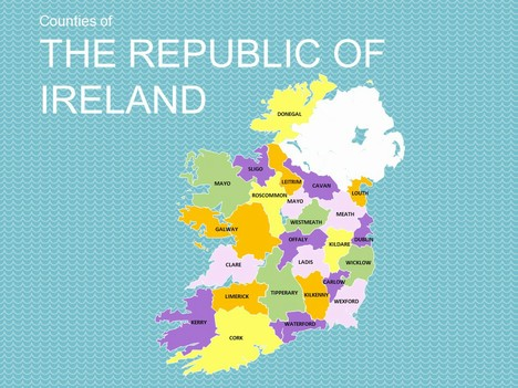 Map of The Republic of Ireland Template inside page