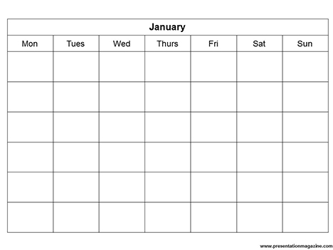 Monthly Calendar Template inside page