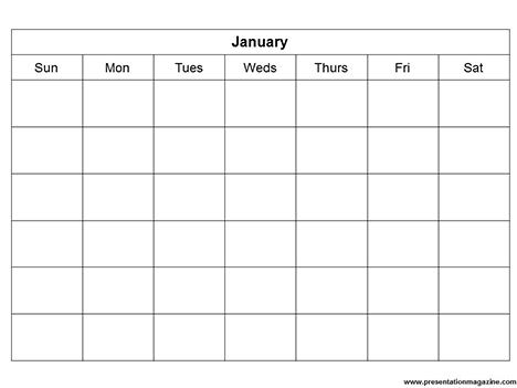 Monthly Calendar Template (Sunday Start)