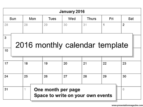 Free 2016 printable calendar template Sunday Start – Printable Calendar Template