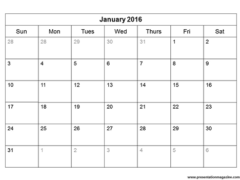 Free 2016 printable calendar template (Sunday Start) inside page