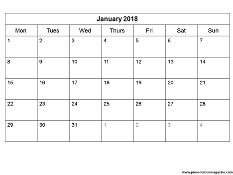 Free 2018 Monthly Calendar Template