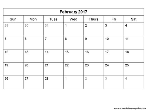 Free 2017 Monthly Calendar Template (Sunday Start) inside page