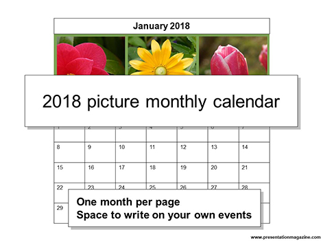 2018 Picture Monthly Calendar