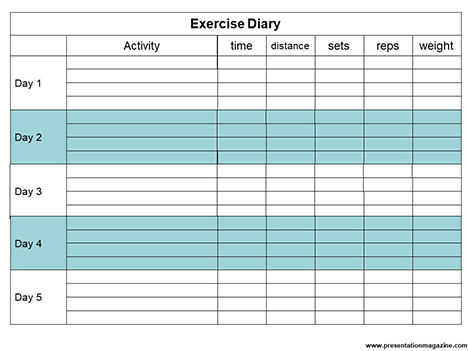 Blank Exercise Diary inside page