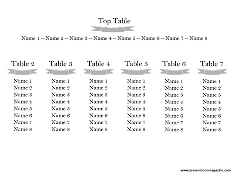 Wedding Tables Template inside page