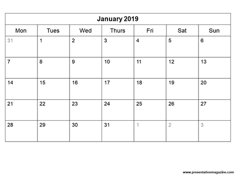 Free 2019 Monthly Calendar Template inside page