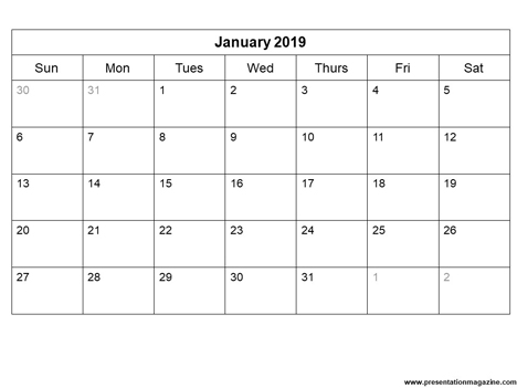 Free 2019 printable calendar template (Sunday Start) inside page