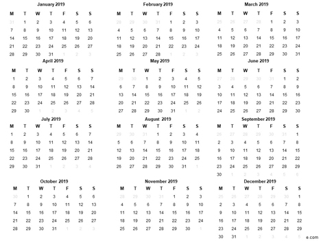 Free 2019 printable calendar template inside page
