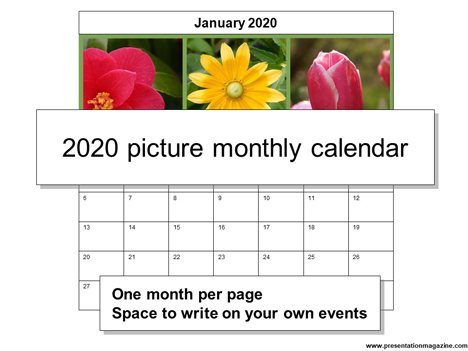 2020 Picture Monthly Calendar