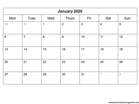 Free 2020 Monthly Calendar Template inside page
