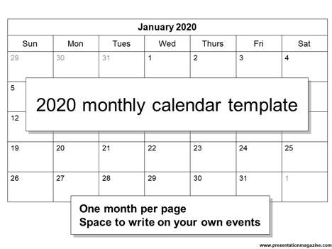 photograph regarding Printable Calendar Template titled Cost-free 2020 printable calendar template (Sunday Start off)