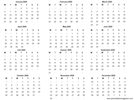 Free 2020 printable calendar template inside page
