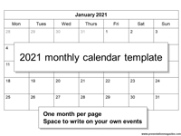 Free 2021 Monthly Calendar Template