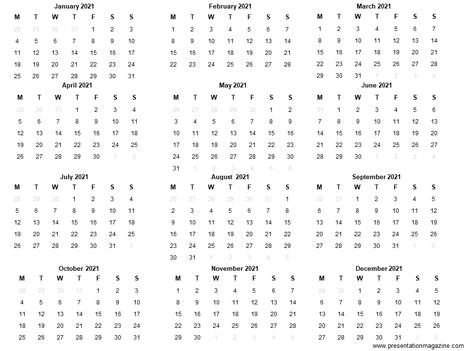 Free 2021 Printable Calendar Template inside page