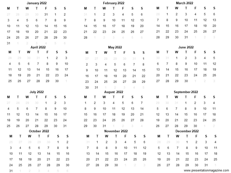 Free 2022 Printable Calendar Template inside page