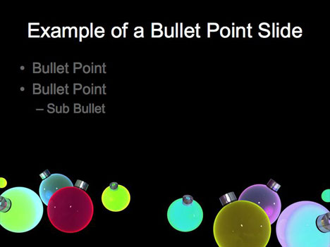 powerpoint template design. Baubles Christmas Template