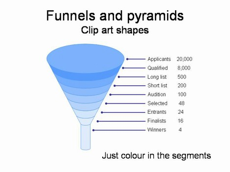 Funnel and Pyramid Clip Art Shapes PowerPoint Template