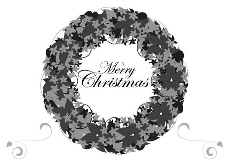 Black and White Christmas Card PowerPoint Template