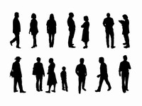 Full length people silhouette outlines