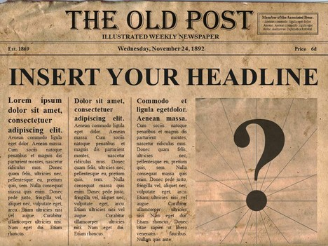 Editable old newspaper template TeGFkyLN