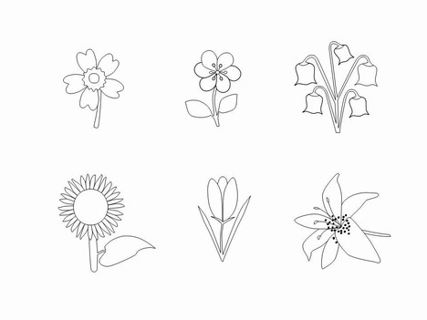 Flower Outlines Clip Art PowerPoint Template slide2