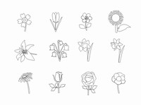 Flower Outlines Clip Art PowerPoint Template slide4