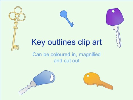 Key Outline Clip Art PowerPoint Template