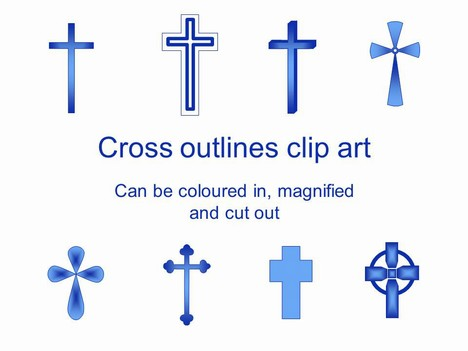 Cross Outlines Clip Art PowerPoint Template