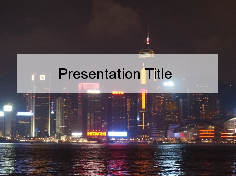 Hong Kong at Night PowerPoint Template