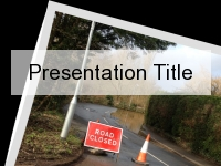 Road Closed Flooding PowerPoint Template thumbnail